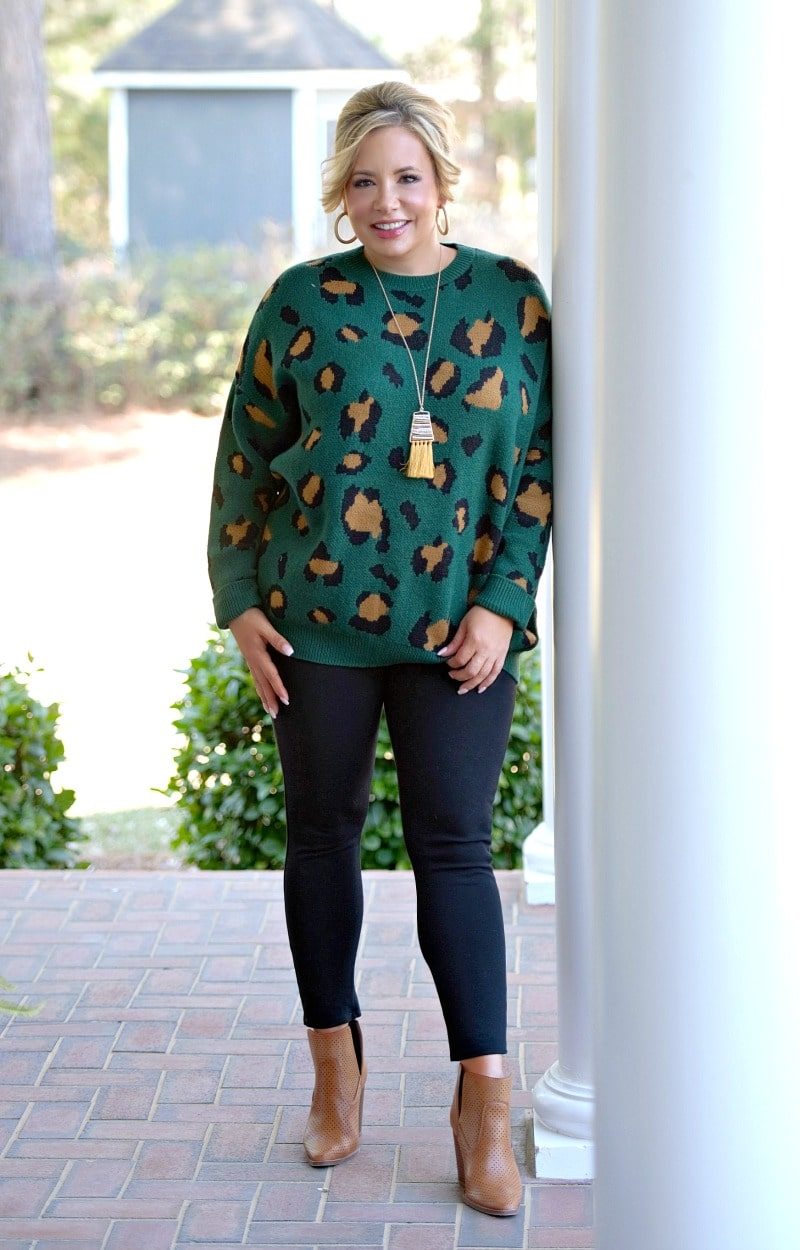 Load image into Gallery viewer, In The Know Leopard Print Sweater - Green