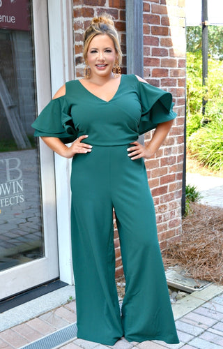The Way To Your Heart Jumpsuit - Hunter Green