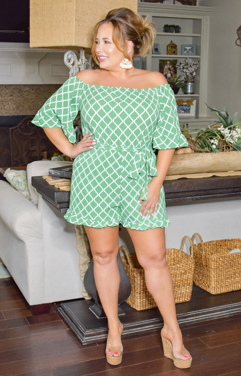 Load image into Gallery viewer, Call Me In Print Romper - Kelly Green