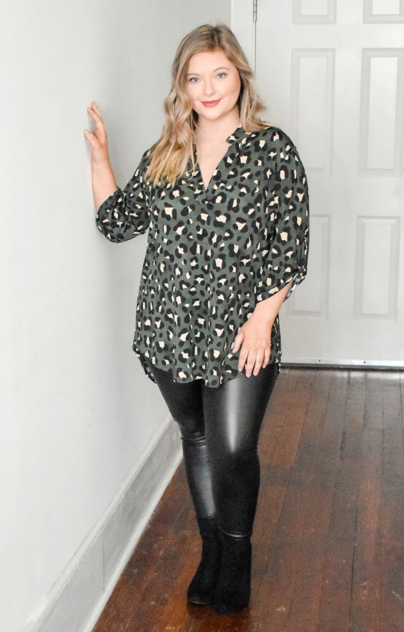 Load image into Gallery viewer, No Apologies Leopard Print Top - Olive