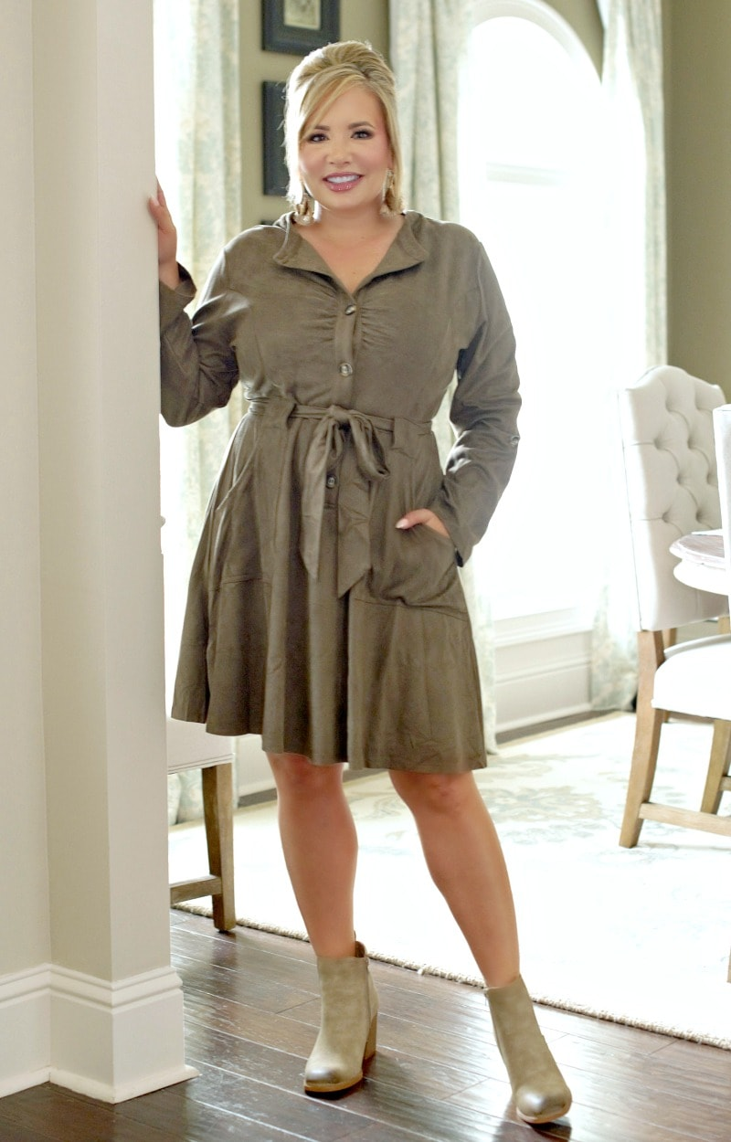 Load image into Gallery viewer, You Thinking Of Me Dress - Olive