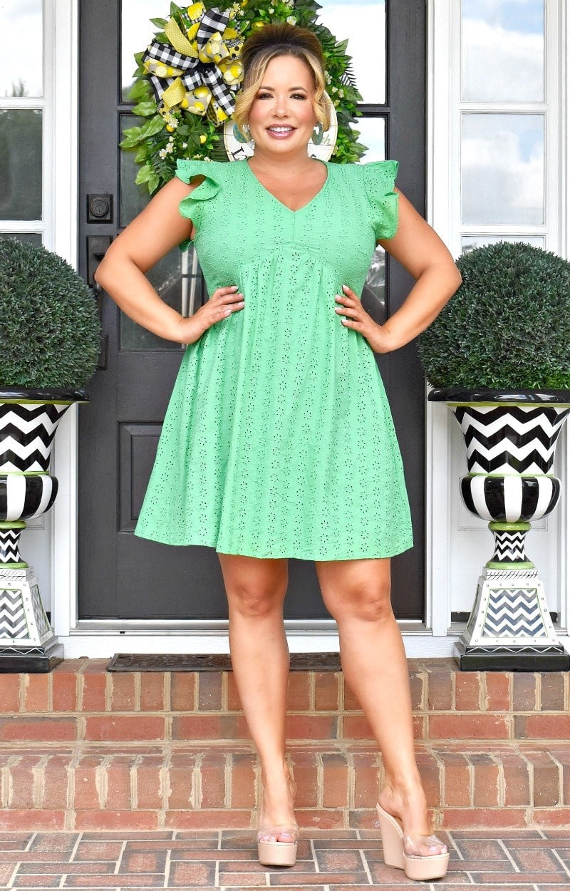 Classic Beauty Eyelet Dress - Kelly Green