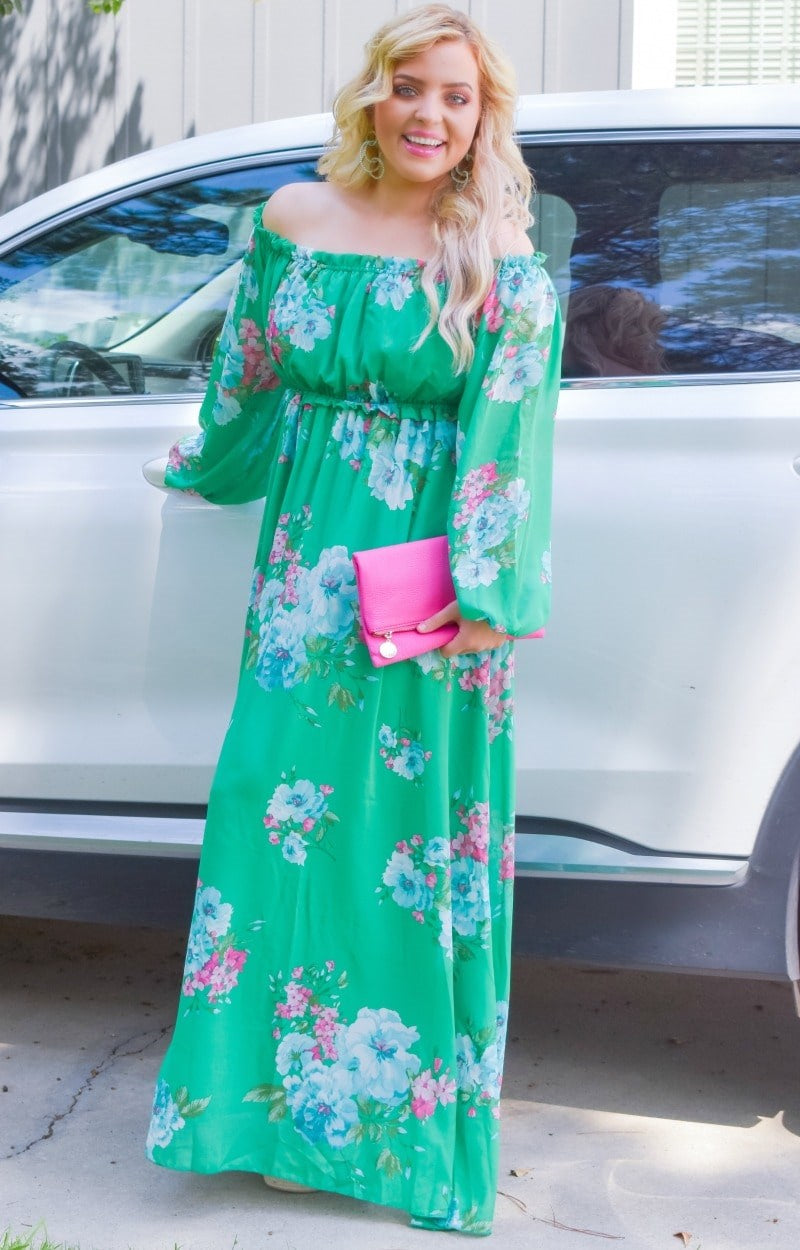 Load image into Gallery viewer, Heart Stopping Floral Maxi Dress - Jade