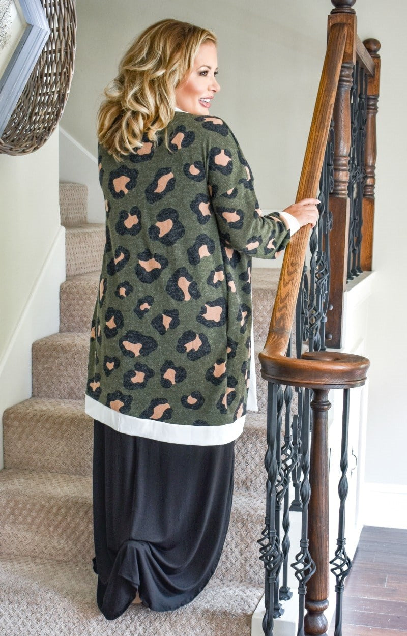 Load image into Gallery viewer, Made You Look Leopard Print Cardigan - Olive