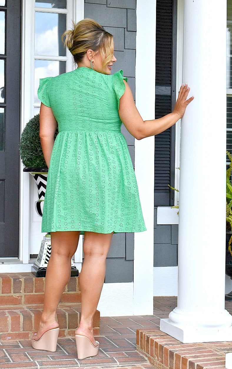 Load image into Gallery viewer, Classic Beauty Eyelet Dress - Kelly Green