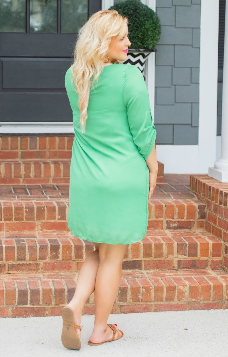 Load image into Gallery viewer, Set The Tone Dress - Emerald