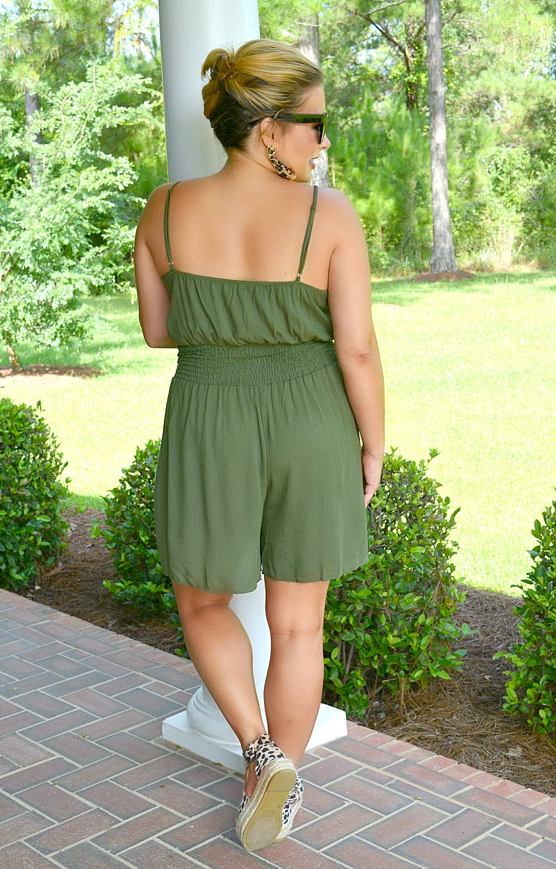 You Know You Need Me Romper - Olive