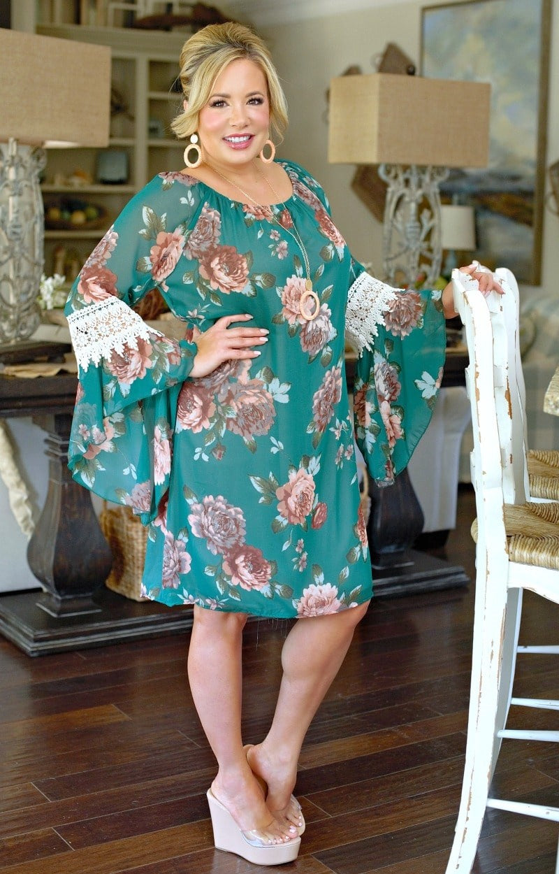 Here To Impress Floral Dress - Hunter Green