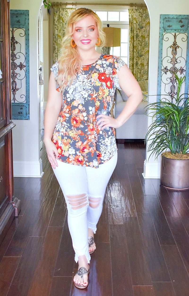 Such A Sweetheart Floral Top - Charcoal
