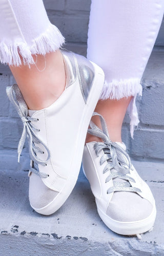 Suppose I Do Star Sneakers - Silver/White