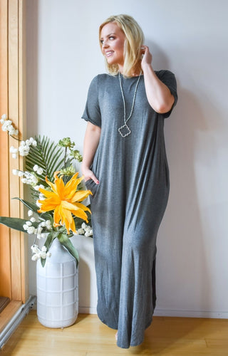 Don't Break My Heart Maxi Dress - Charcoal