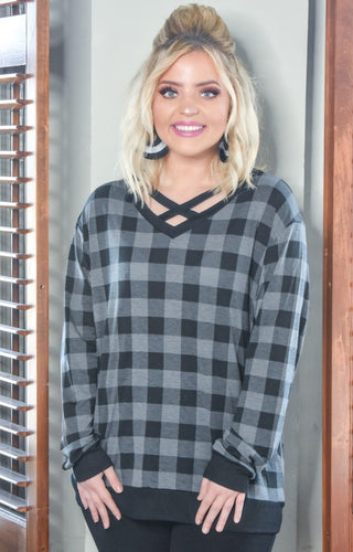 Don't Cross Me Plaid Top - Gray