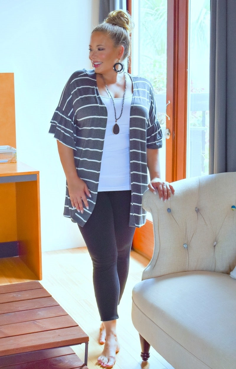 Load image into Gallery viewer, Chase A Dream Striped Cardigan - Charcoal/Ivory