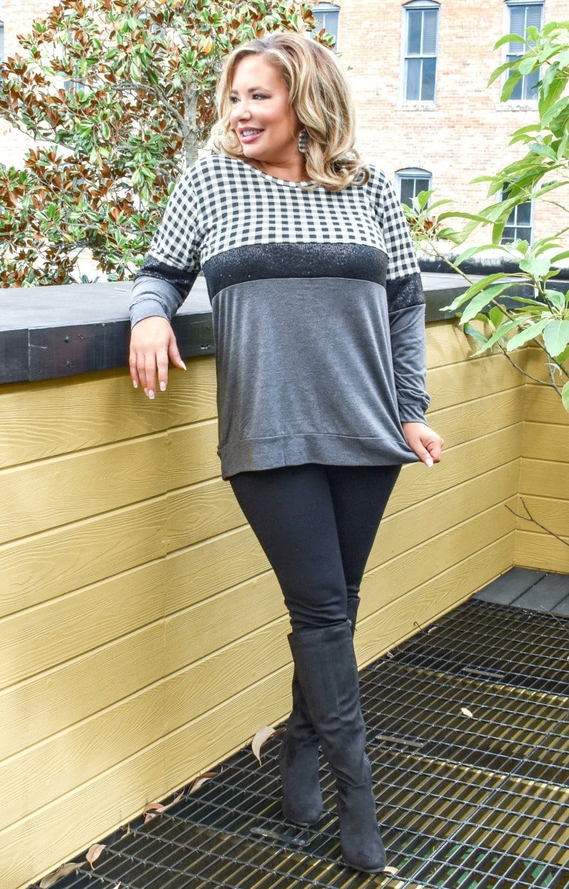 Load image into Gallery viewer, Say Anything Gingham Pullover - Black/Gray