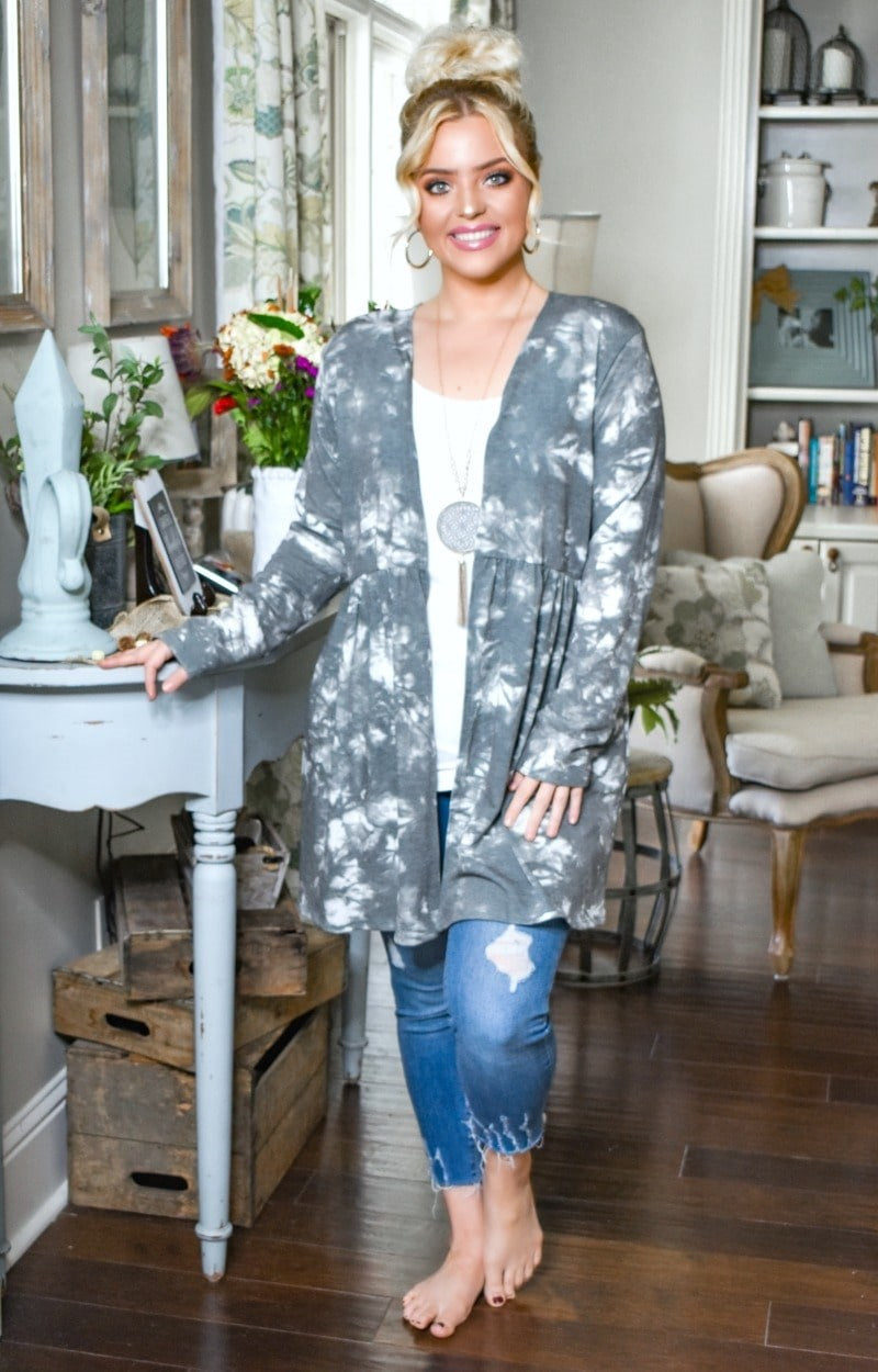 Beauty Within Print Cardigan - Charcoal