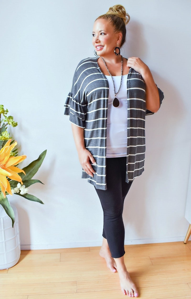 Chase A Dream Striped Cardigan - Charcoal/Ivory