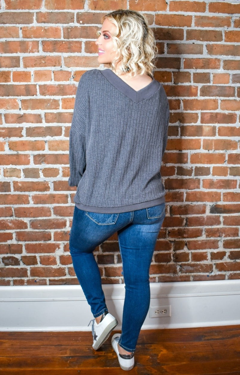 Burn It Up Oversized Sweater - Charcoal