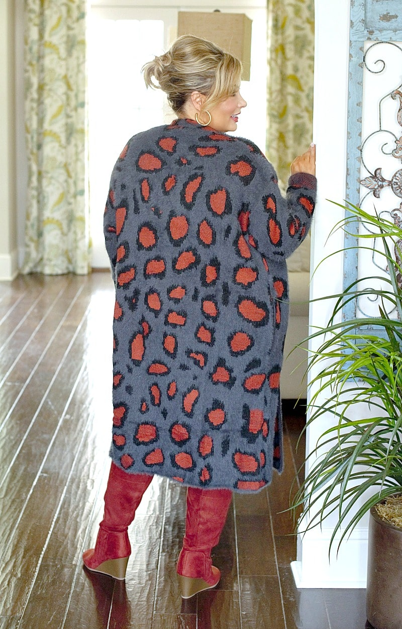 What You Want Leopard Print Cardigan - Charcoal