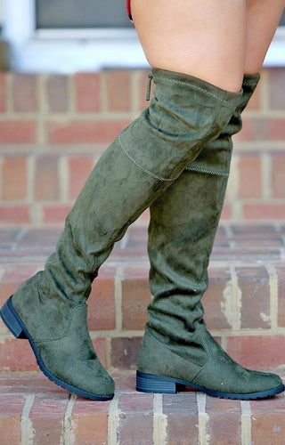 Have To Wait Over The Knee Boots - Olive