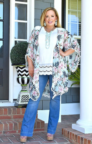 Headed To The Island Kimono - Mint