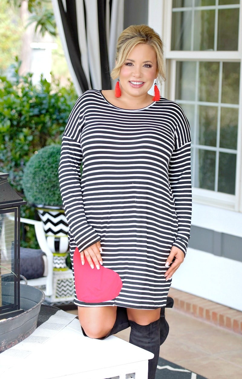 Load image into Gallery viewer, Be My Sweetheart Striped Dress - Black/Ivory