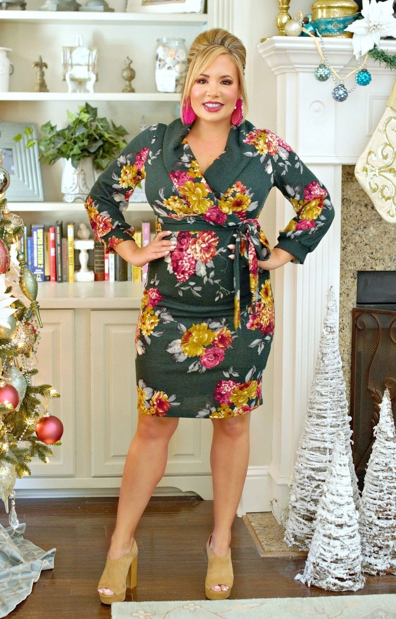 Load image into Gallery viewer, Here To There Floral Dress - Hunter Green