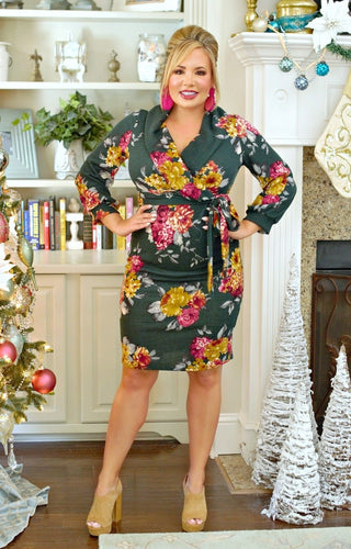 Here To There Floral Dress - Hunter Green