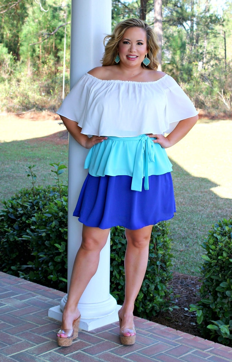 Hidden Beauty Colorblock Dress - White/Sky/Royal