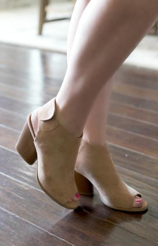 Highly Motivated Peep Toe Booties - Taupe