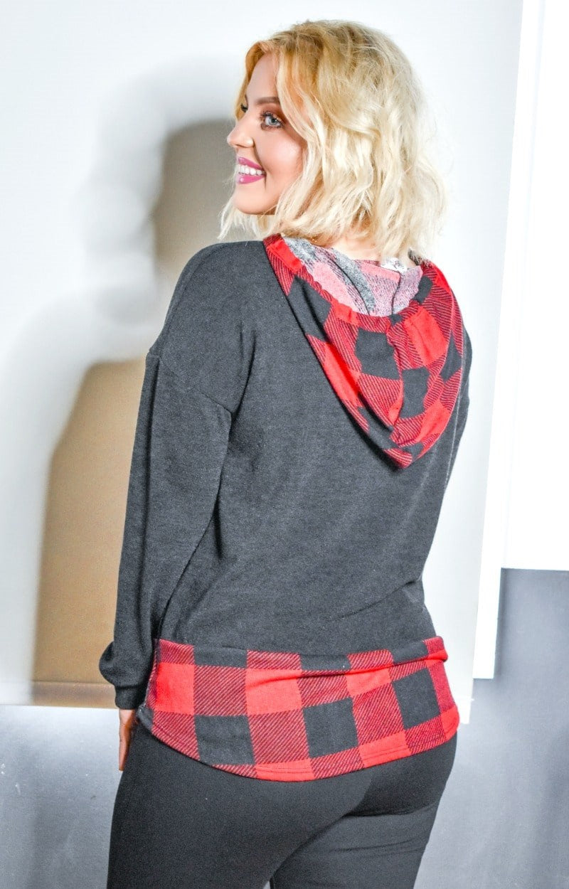 All About You Plaid Hooded Pullover - Black/Red
