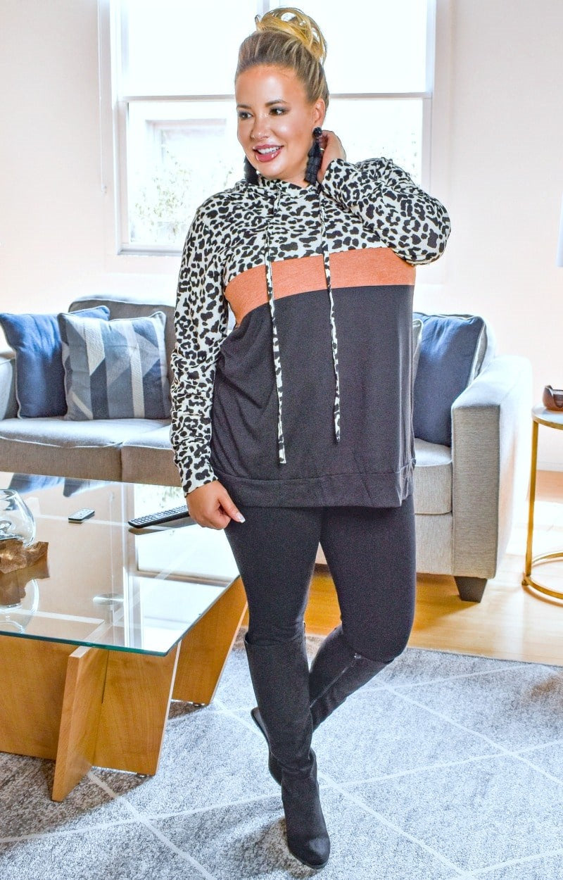 Can't Be Tamed Leopard Print Hooded Pullover