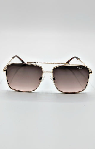 Quay Australia - Hot Take Gold/Smoke Pink Sunglasses