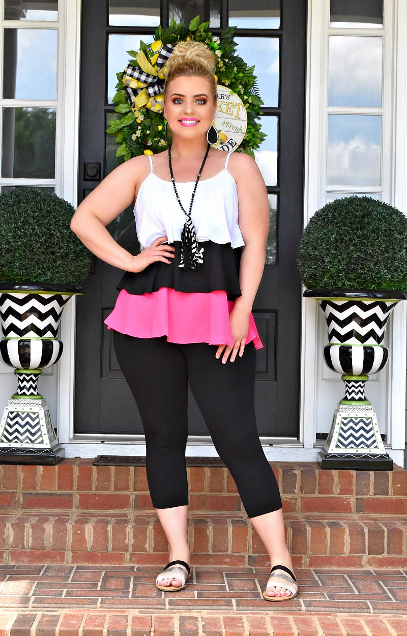 Enough For Me Colorblock Top - Black/Hot Pink