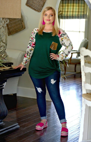A Little Something Extra Floral Top - Hunter Green