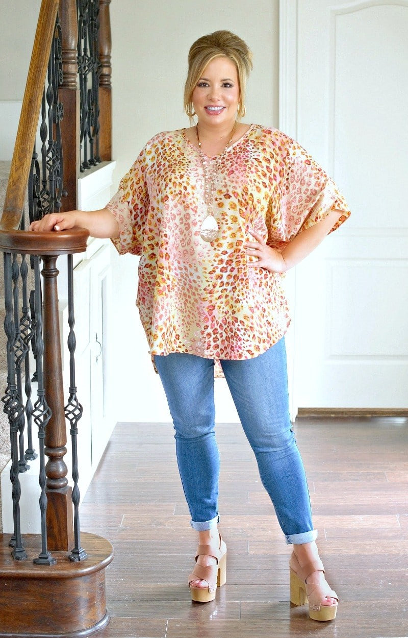 Load image into Gallery viewer, I'm Impressed Oversized Leopard Print Top - Pink/Yellow