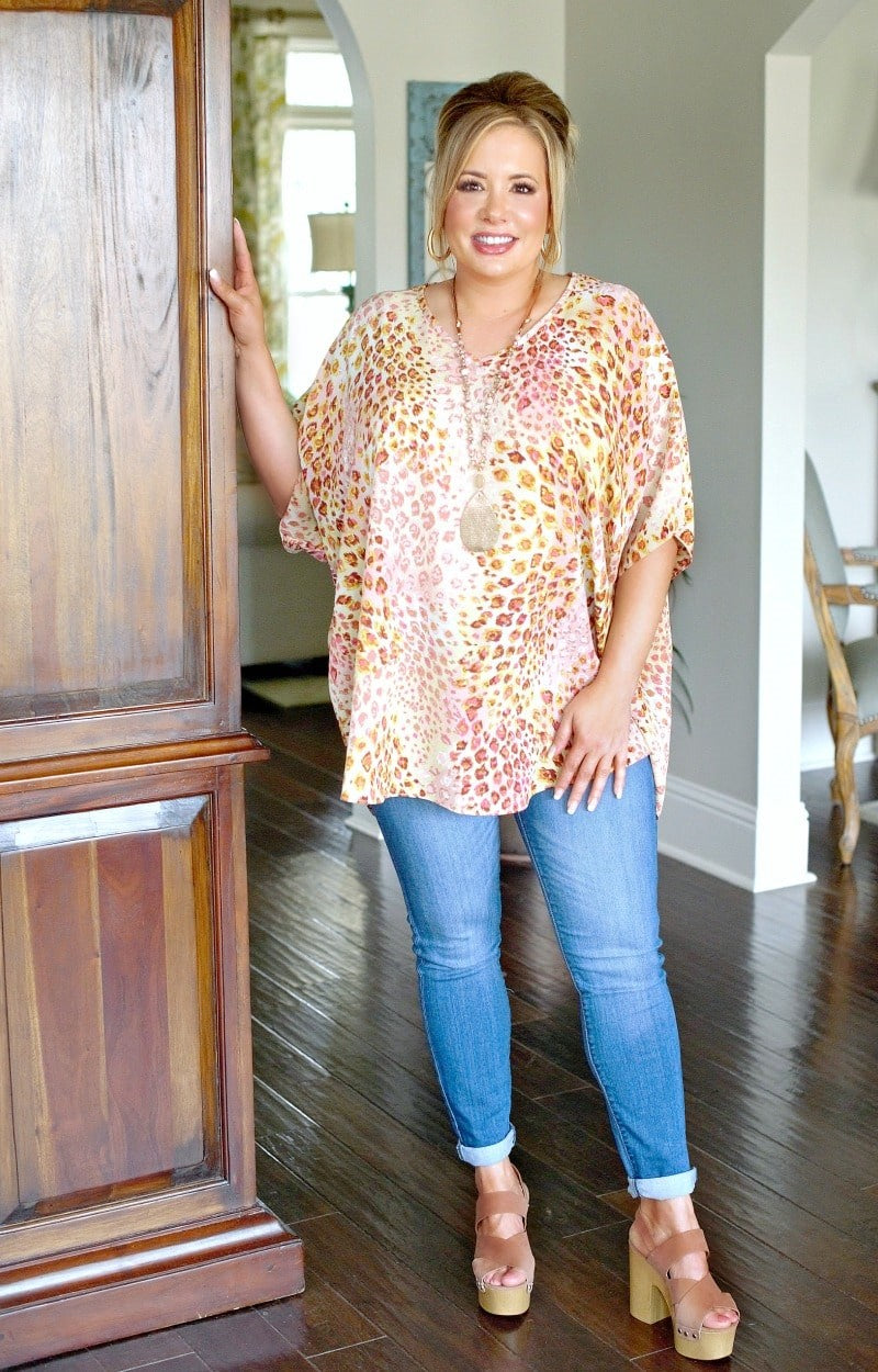 I'm Impressed Oversized Leopard Print Top - Pink/Yellow
