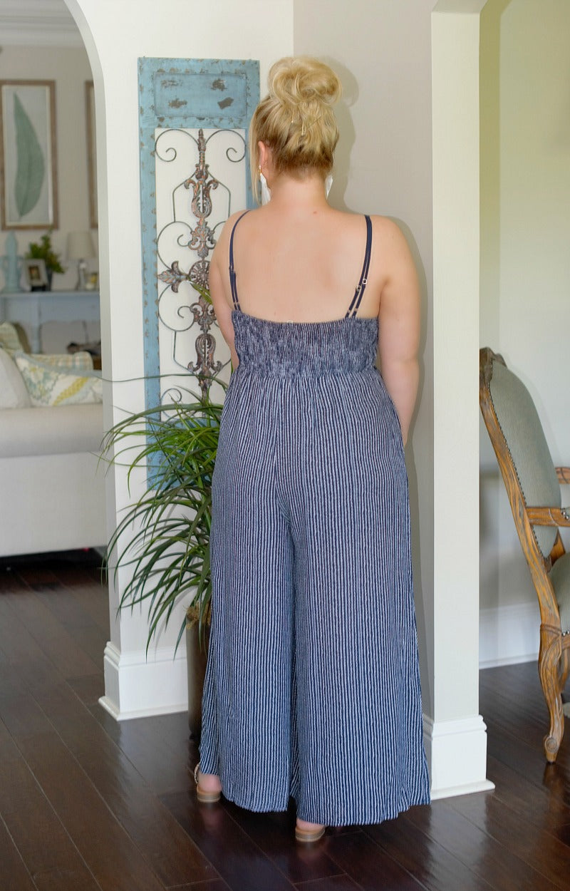 Load image into Gallery viewer, Good Intentions Lace Jumpsuit - Navy