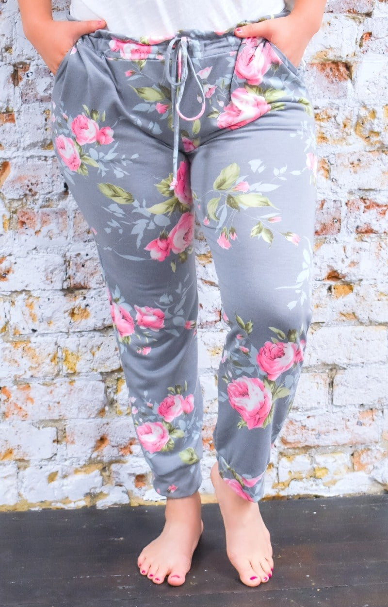 My Sweet Side Floral Joggers - Gray