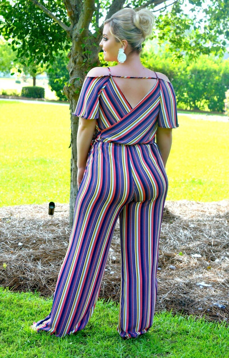 What You've Been Missing Striped Jumpsuit - Multi