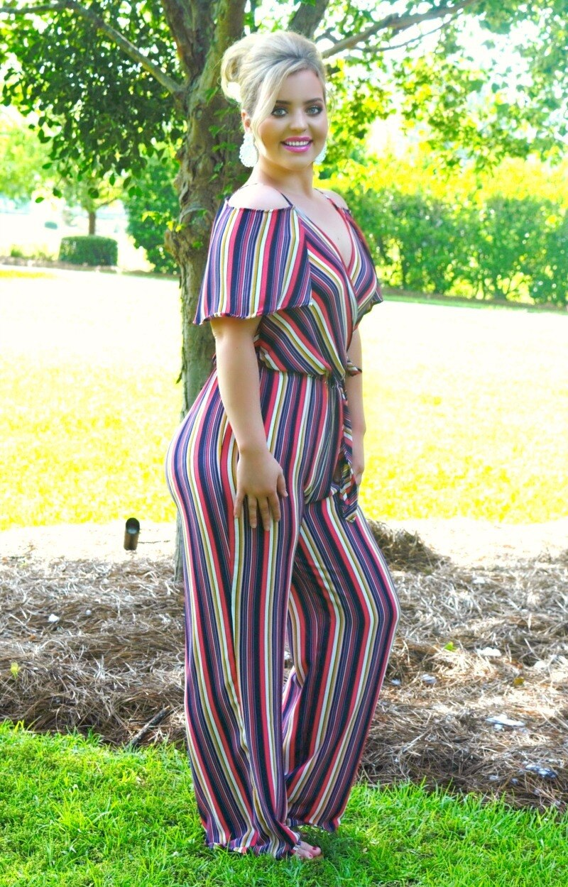 Load image into Gallery viewer, What You've Been Missing Striped Jumpsuit - Multi