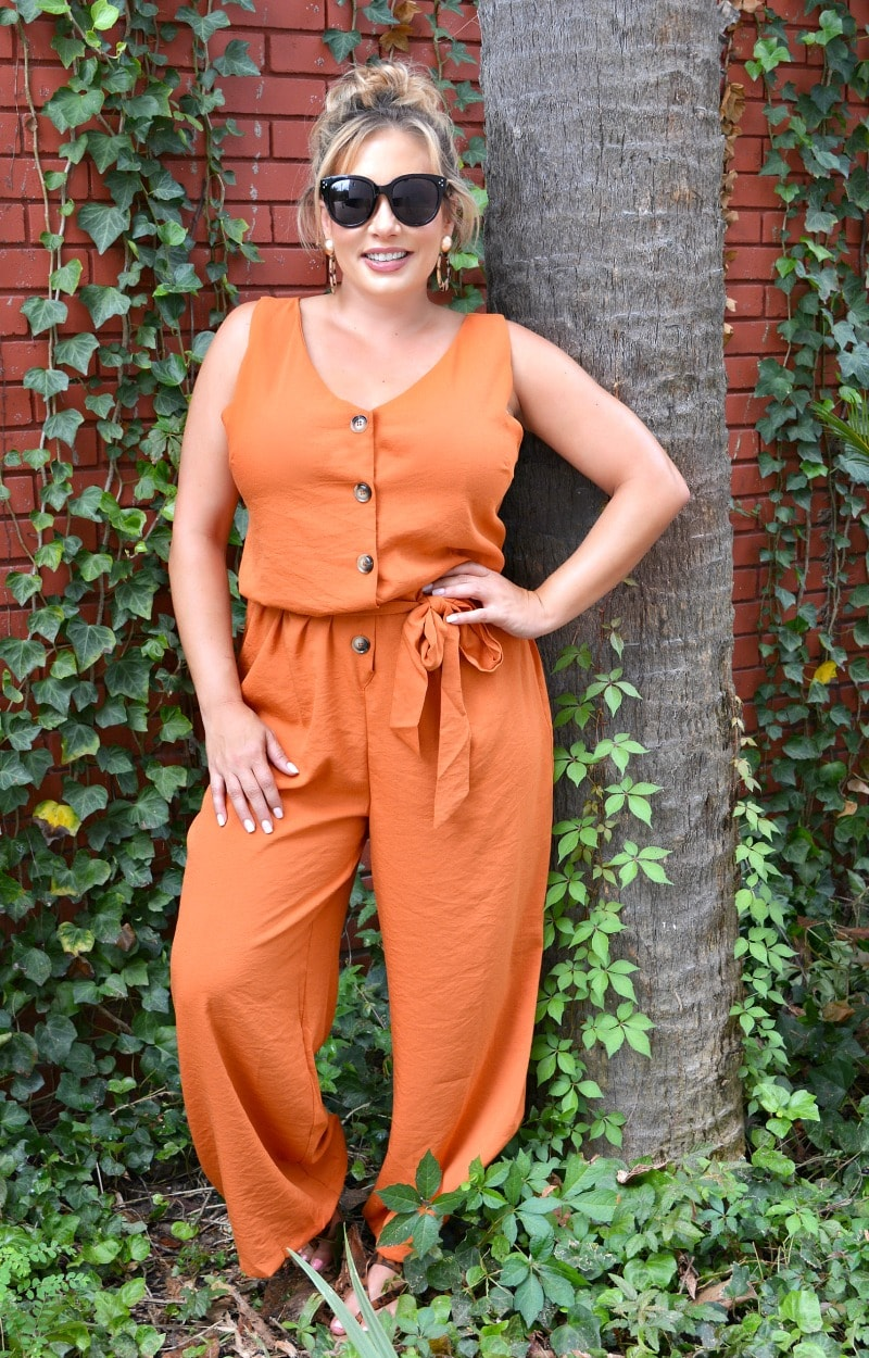 Easy Way Out Jumpsuit - Rust