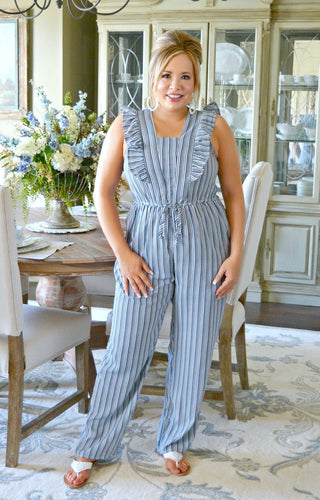 Out Of Your Reach Striped Jumpsuit - Navy