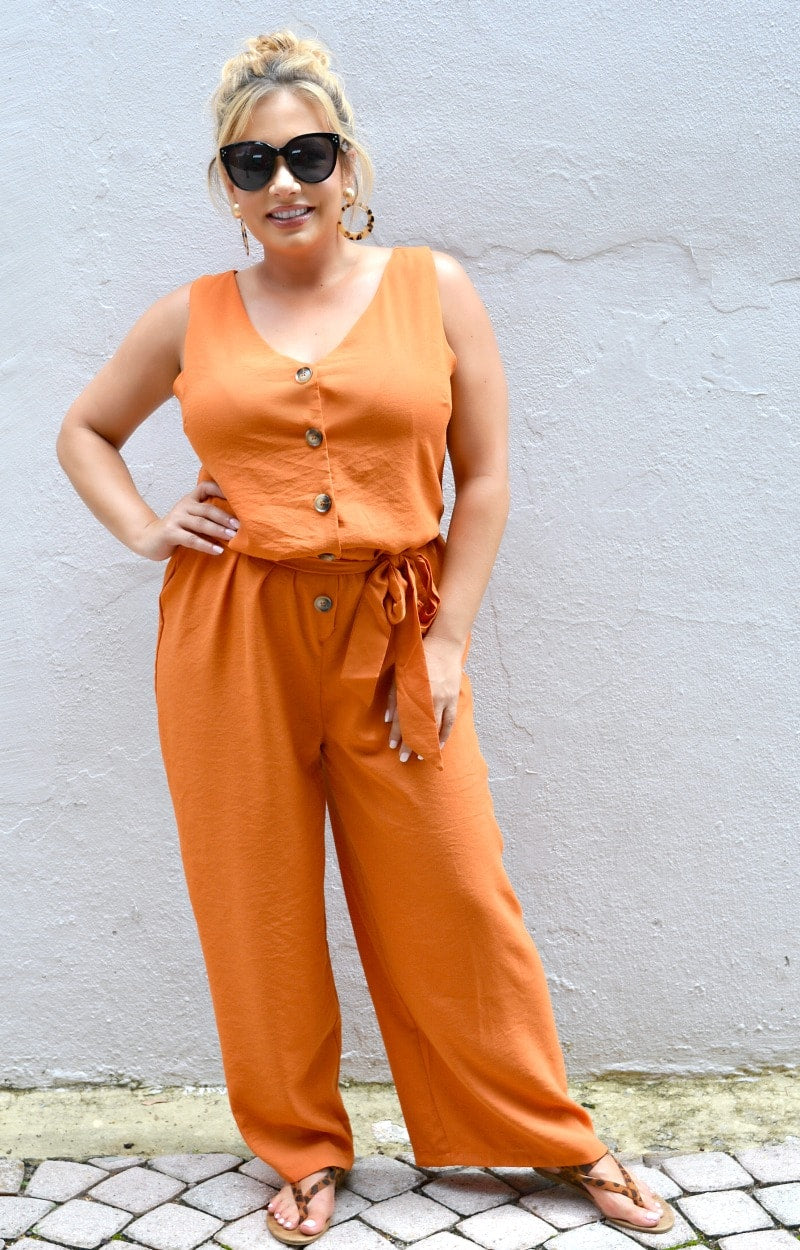 Load image into Gallery viewer, Easy Way Out Jumpsuit - Rust