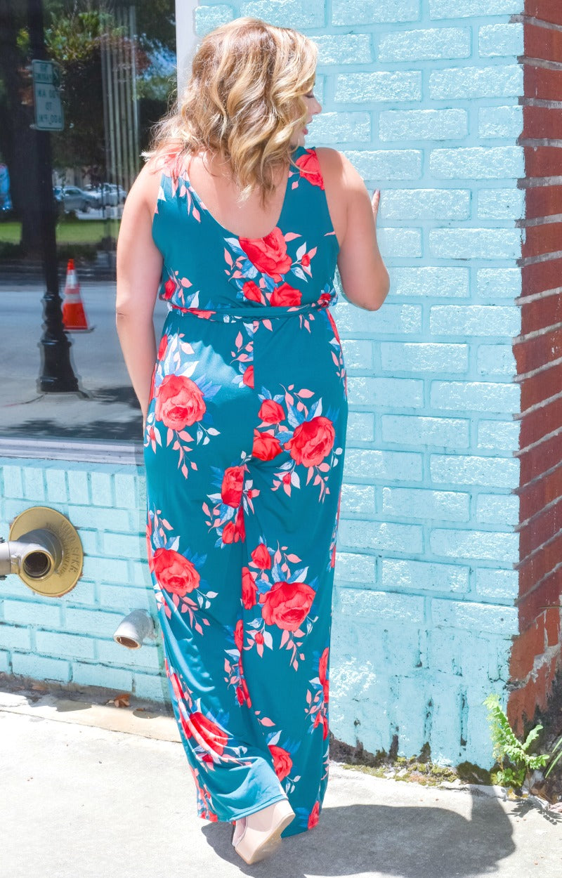 Here With Me Floral Jumpsuit - Teal