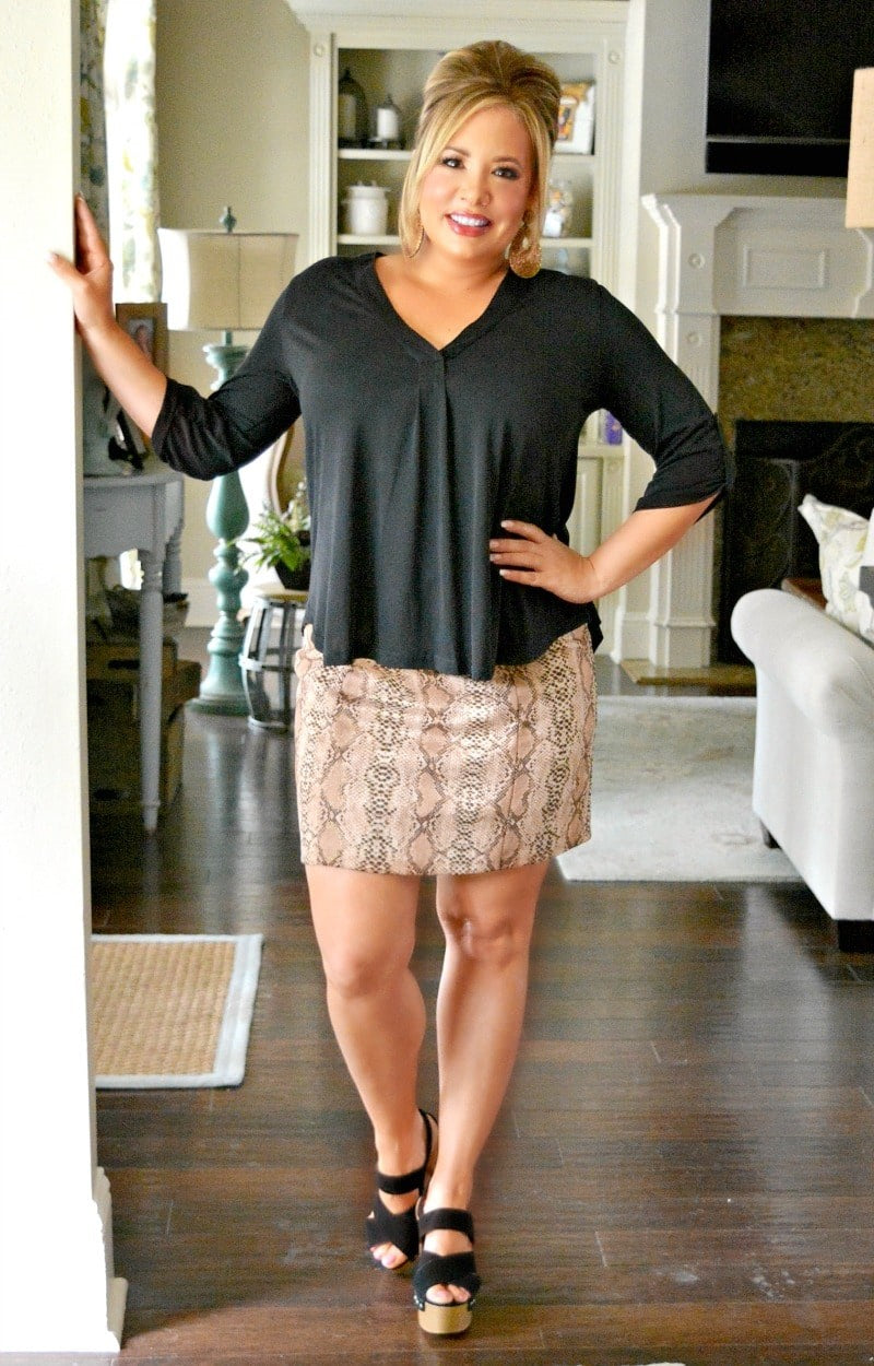Just The One Snake Print Skirt