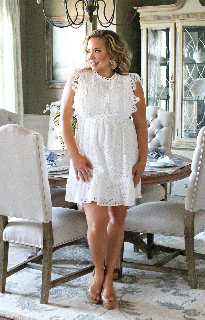 Load image into Gallery viewer, Keep Your Cool Eyelet Dress - White