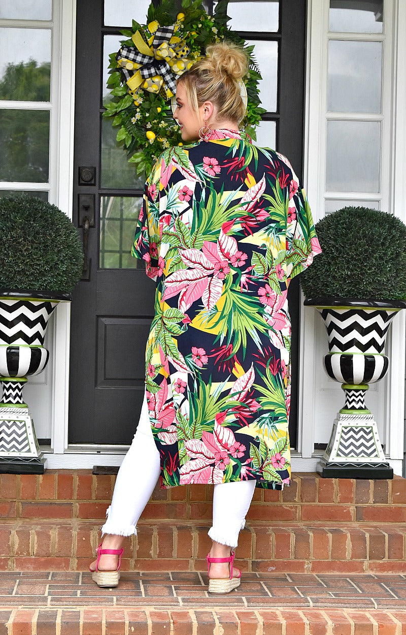 Wrapped In Beauty Floral Duster - Navy
