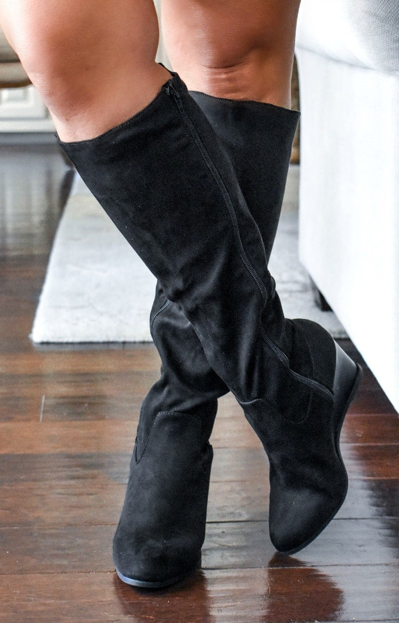 Confident Cutie Wedge Knee Boots - Black
