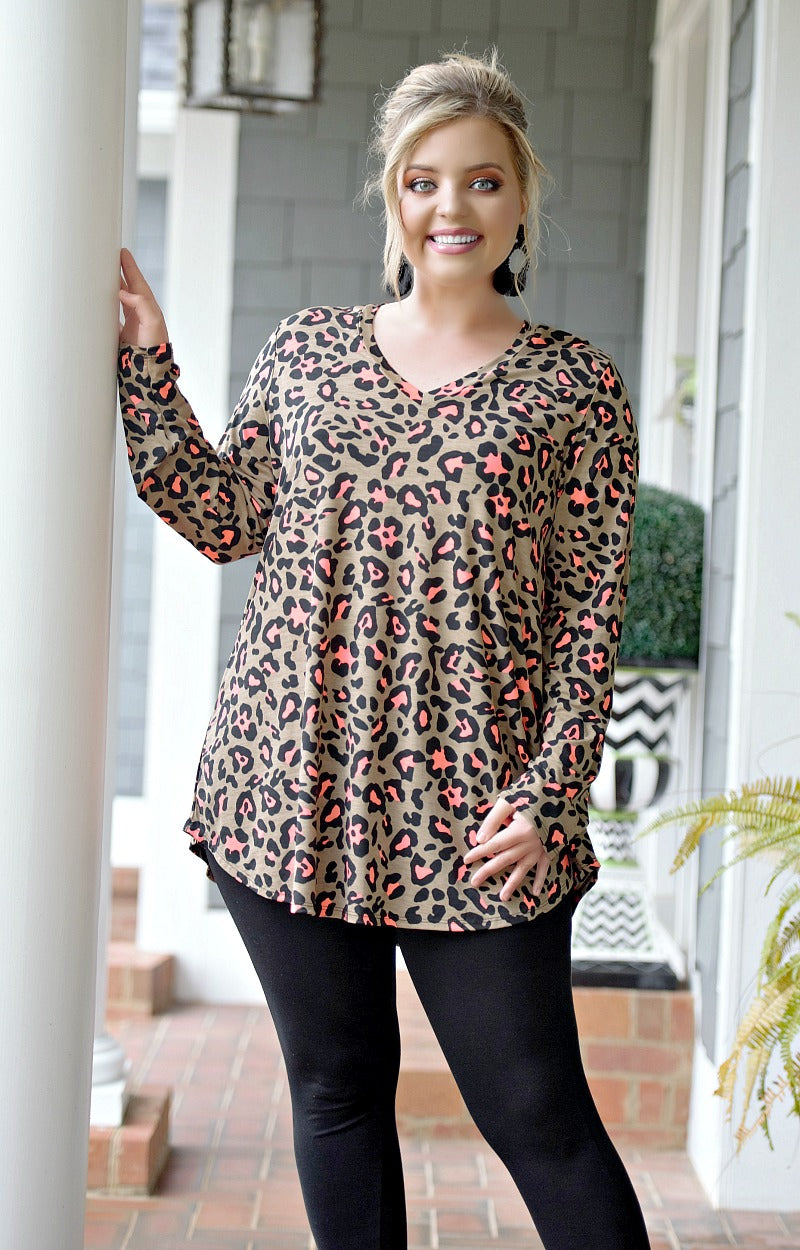 It's On Me Leopard Print Top - Mocha/Hot Pink