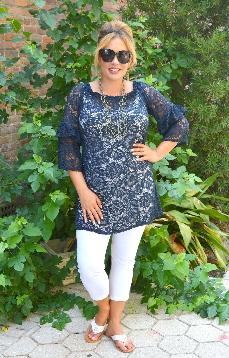 Load image into Gallery viewer, Had It Coming Lace Top - Navy